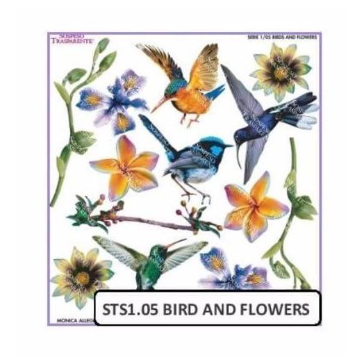 Τυπωμένo φύλλο-Ζελατίνη για Sospeso STS1.05, Bird and flowers
