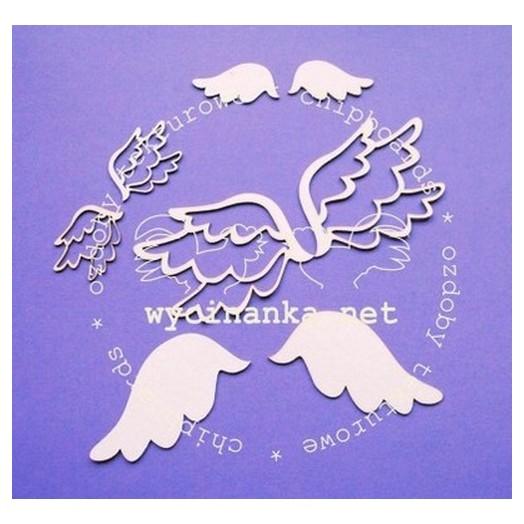Διακοσμητικά Chipboard φτερά αγγέλου, 4-8 cm , 8τεμ