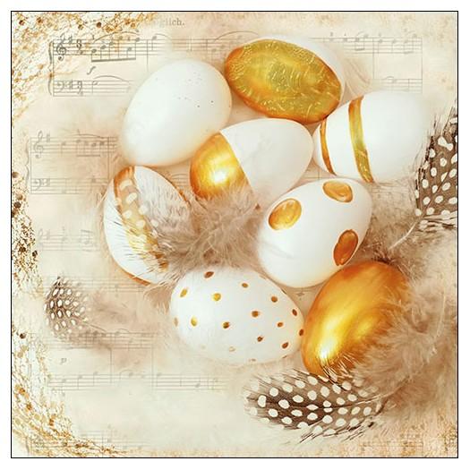 Χαρτοπετσέτα για decoupage, Golden Eggs, 1 τεμ.