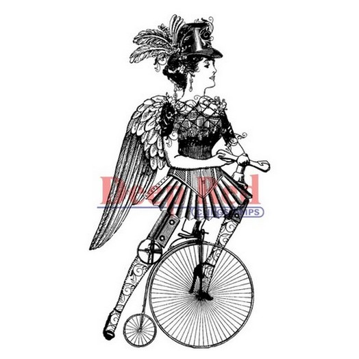 Deep Red Cling Stamp - Steampunk Lady Cyclist - 5,10x10,20cm