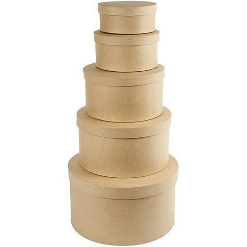 Κουτιά στρογγυλά καπελιέρες, 16-35cm, σετ 5 τεμ.