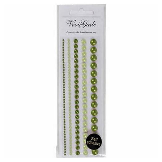 Πέρλες μισές ,  2-8 mm, green, 140 τεμ.