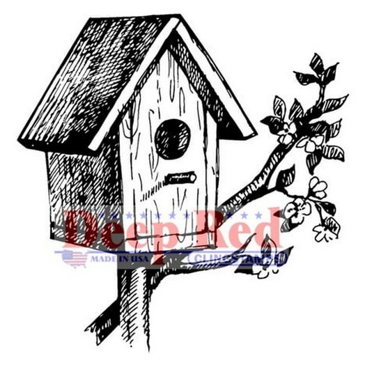 Deep Red Cling Stamp - Rustic Birdhouse - 5,10x5,10cm