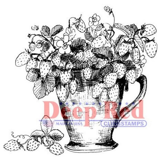 Deep Red Cling Stamp - Strawberry Plant - 5,10x5,10cm