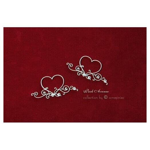 Διακοσμητικά Chipboard Καρδιές, 4,5x9 cm, σετ 2 τεμ