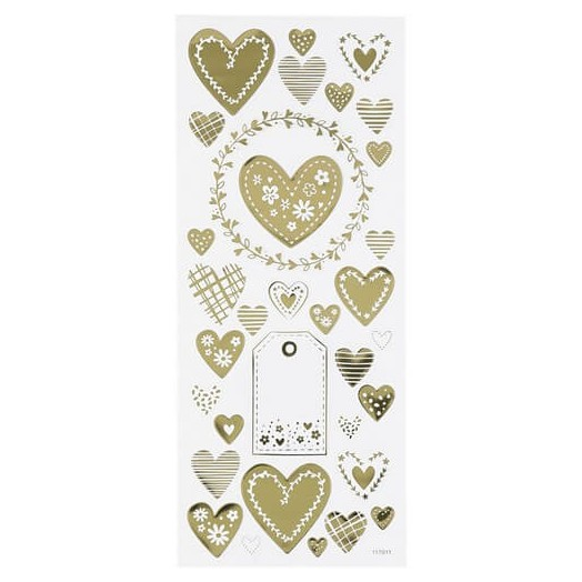 Stickers sheet 10x24 cm, Gold Hearts
