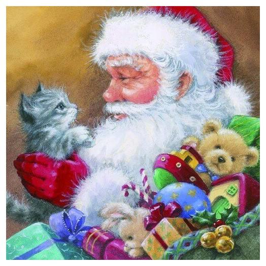 Χαρτοπετσέτα για Decoupage Ti-flair Santa with Kitten, 1τεμ.