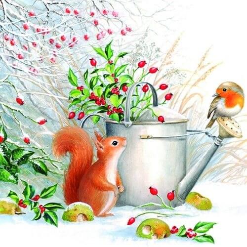 Χαρτοπετσέτα για Decoupage Ti-flair Red Squirrel & Robin, 1τεμ.