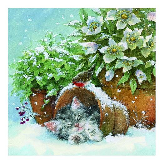 Χαρτοπετσέτα για Decoupage, Kitten sleeping in Plant Pot, 1τεμ.