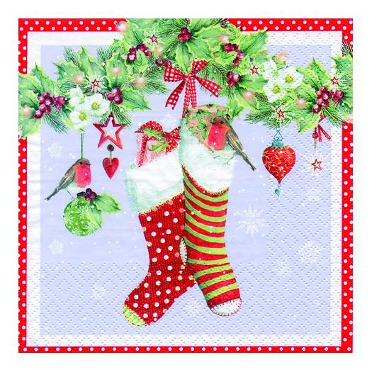 Χαρτοπετσέτα για Decoupage, Stockings with mistltoe, 1τεμ.