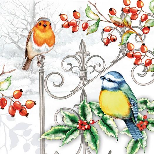 Χαρτοπετσέτα για decoupage, Birds & Holly,1 τεμ.