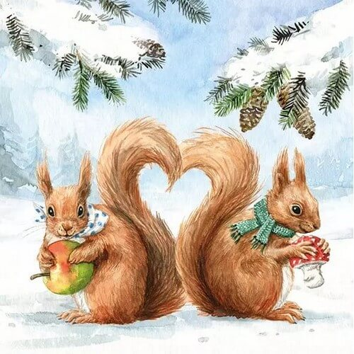 Χαρτοπετσέτα χριστουγεννιάτικη για decoupage, Squirrel Love ,1 τεμ.