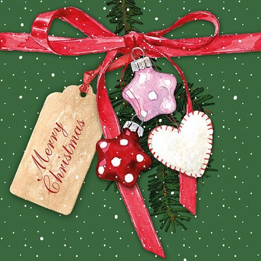 Χαρτοπετσέτα για Decoupage, Christmas Tag Green, 1τεμ.