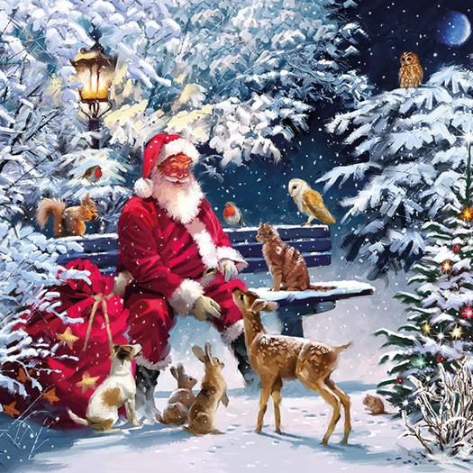 Χαρτοπετσέτα για Decoupage, Santa On Bench, 1τεμ.