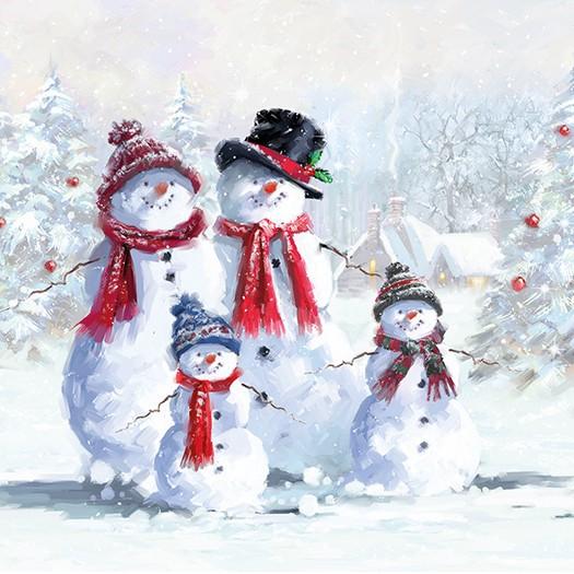 Χαρτοπετσέτα για Decoupage, Snowmen With Hat, 1τεμ.