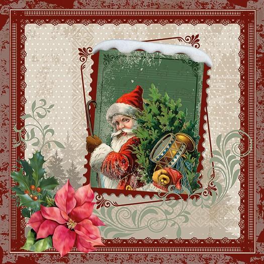 Χαρτοπετσέτα για Decoupage, Santa Stamp, 1τεμ.