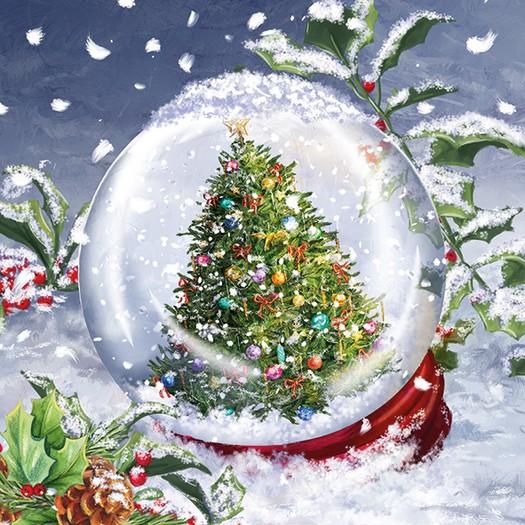 Χαρτοπετσέτα για Decoupage, Tree In Snowglobe, 1τεμ.