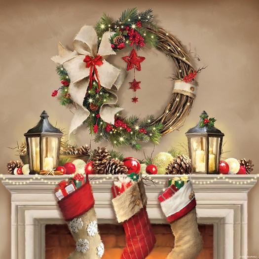 Χαρτοπετσέτα για Decoupage, Wreath and Socks, 1τεμ.