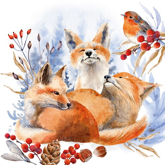 Χαρτοπετσέτα για Decoupage, Foxes And Robin, 1τεμ.