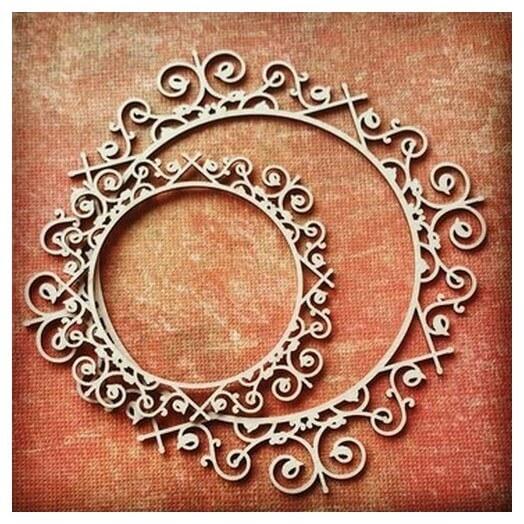 Διακοσμητικά Chipboard Vintage κύκλος ,9 & 6 cm  cm, σετ 2 τεμ