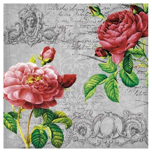 Χαρτοπετσέτα για Decoupage Ti-flair Deux Roses Classique black, 1τεμ.