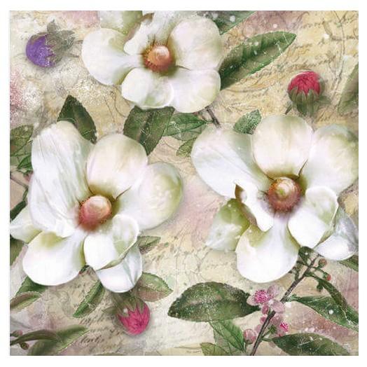 Χαρτοπετσέτα για Decoupage Ti-flair Trois Magnolias Blanc, 1τεμ.