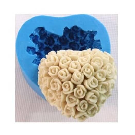 Καλούπι σιλικόνης και για σαπούνι, Rose heart 60x60x28mm