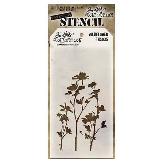Tim Holtz Layered Stencil, Wildflower 18x9,5cm