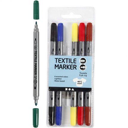 Μαρκαδόροι για ύφασμα, βασικά χρώματα, σετ 6 τεμ.