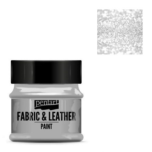 Fabric and leather paint 50 ml, Pentart -Χρώμα για ύφασμα και δέρμα, Glittering Silver