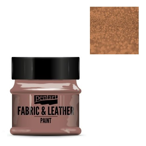 Fabric and leather paint 50 ml, Pentart -Χρώμα για ύφασμα και δέρμα, Glittering Bronze