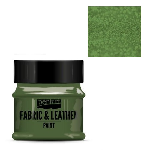 Fabric and leather paint 50 ml, Pentart -Χρώμα για ύφασμα και δέρμα, Glittering Green