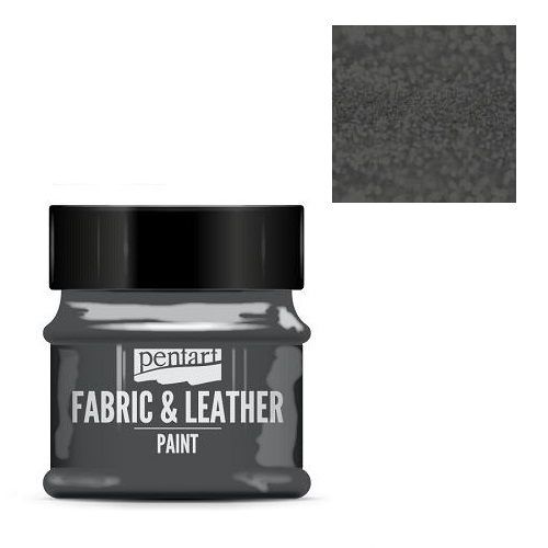 Fabric and leather paint 50 ml, Pentart -Χρώμα για ύφασμα και δέρμα, Glittering Graphite