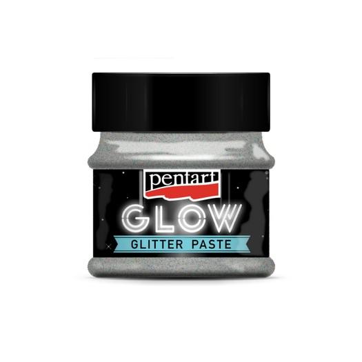 Glow glitter paste (φωσφορίζουσα πάστα) 50 ml, Pentart, Silver
