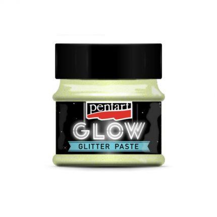 Glow glitter paste (φωσφορίζουσα πάστα) 50 ml, Pentart, Rainbow Green