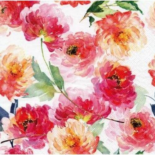 Χαρτοπετσέτα για Decoupage, Summer roses white, 1τεμ