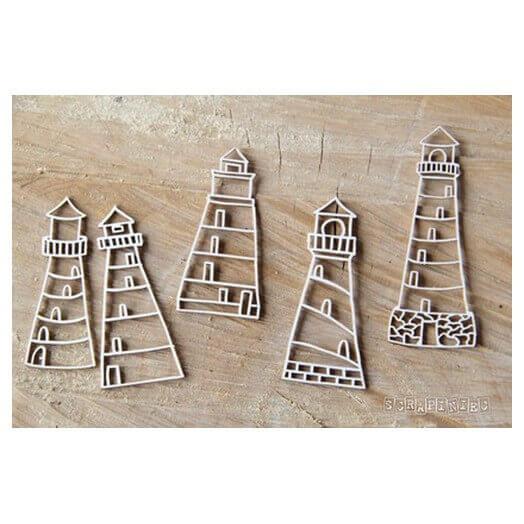 Διακοσμητικά Chipboard, Lighthouses 3x7,5 cm, σετ 4τεμ.