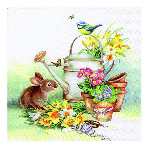 Χαρτοπετσέτα για Decoupage, Bunny with Watering Can, 1τεμ.