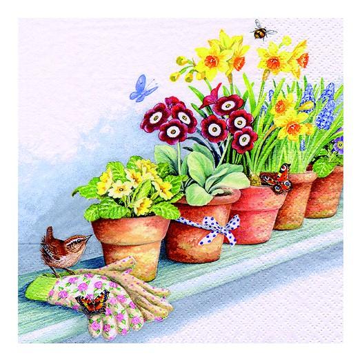 Χαρτοπετσέτα για Decoupage, Windowsill with Flower Pots, 1τεμ.