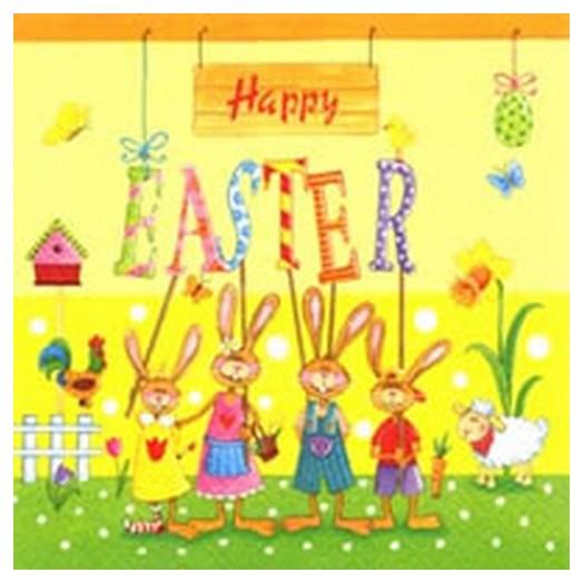Χαρτοπετσέτα Πασχαλινή για Decoupage ,Happy Easter Gang 1τεμ.