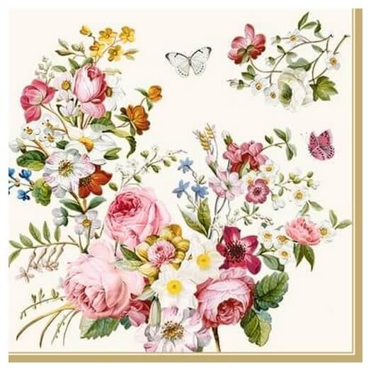Χαρτοπετσέτα για Decoupage Blooming Opulence Cream, 1τεμ