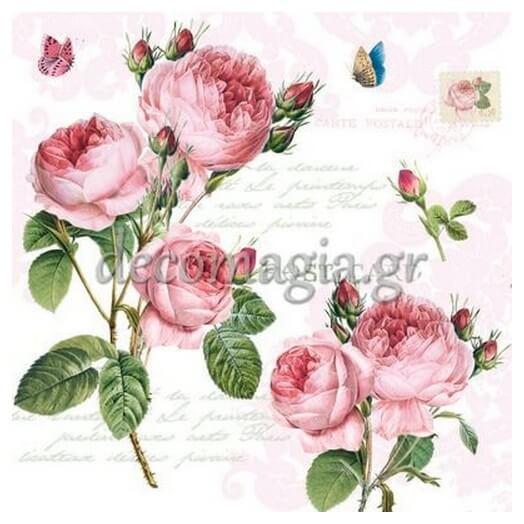 Χαρτοπετσέτα για Decoupage Romantic Roses, 1τεμ