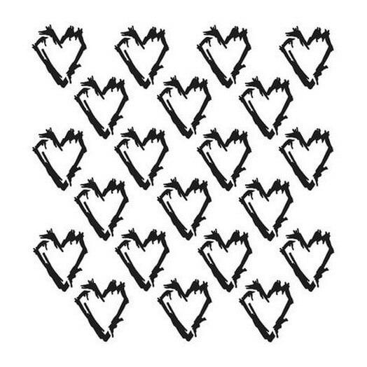 Μάσκα Stencil, Grunge Hearts 15,5x15,5cm
