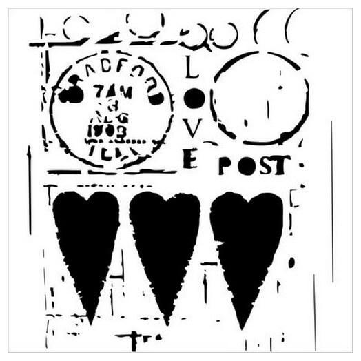 Μάσκα Stencil, Love Post 15,5x15,5cm