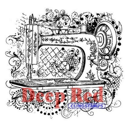 Deep Red Cling Stamp - Sewing Machine Flourish - 7,60x7,60cm