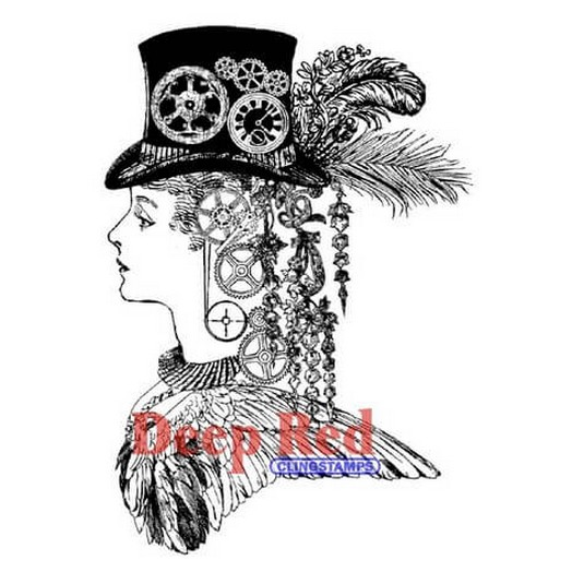 Deep Red Cling Stamp - Steampunk Lady - 7,60x10,20cm