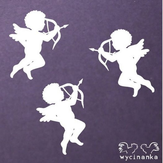 Διακοσμητικό Chipboard, Cupids with bows, 3 τεμ, 5,5x6cm