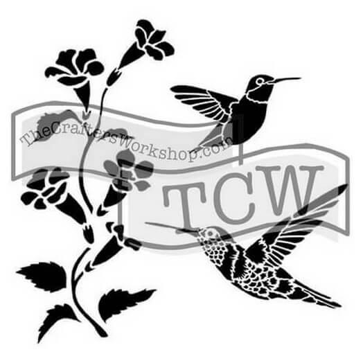 Μάσκα Stencil, Hummingbirds 30,5x30,5cm