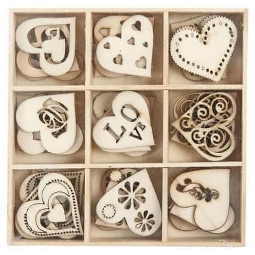 Ξύλινες καρδιές 28 mm, love, σετ 45 τεμ