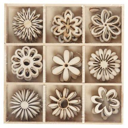 Ξύλινα λουλούδια διακοσμητικά 28 mm, σετ 45 τεμ